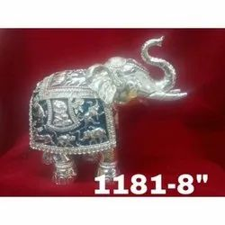 1181 Silver Coated Elephant Statue
