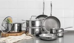 OEM acceptable Polished Triply Stainless Steel Cookware, For Kitchen, Size: 14.7 To 28.90cm