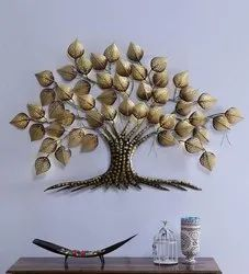 Golden Iron Tree Wall Hanging, Size: 37x2x60