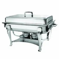 Silver Stainless Steel SS Rectangle Lift Top Chafing Dish, Dimension: 21 X 13 Inch, Capacity: 12 Ltr