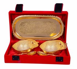 Diwali Gift Bowl Set Gold Plated