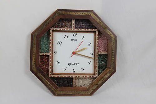Gem Stones Teak Wood Wall Clock At Rs 500 Piece Decorative Wall