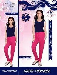 Hot Pink Lycra Cotton Ladies Lowers