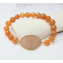 Orange Druzy Bracelet