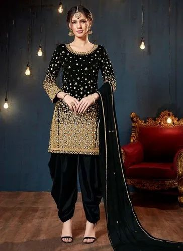Heavy Mirror Work Wedding Patiala Suit