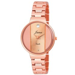 Round Rose Gold Women Wrist Watch