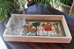 Advaita Handicrafts Decorative Wooden Tray, For Home, Shape: Rectangle