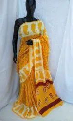 Ajrakh Block Print Cotton Saree