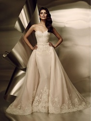 Satin Bridal Gowns With Detachable Train