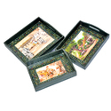 Wooden Green Color Tray Set Of 3 Handpainted Handmade Home Decor,Serving Tray
