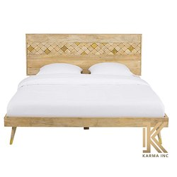 Karma Inc Mango Wood Bed With Brass Detailing