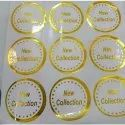 Round Transparent Golden Pvc Stickers, For Advertising, Size: 2x2 Inch