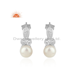 White Rhodium Plated Sterling Silver CZ Natural Pearl Earrings Jewelry