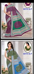 Multi Block Prints Cotton Saree with blouse, Approx 5.5 mtr