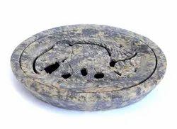 Swastik Overseas Soapstone Oval Shaped Elephant Carved Soap Dish