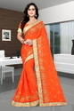 Paper Silk Designer Pallu Embroidered Work Orange Color Saree