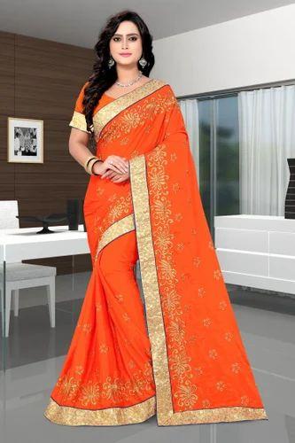 9a4ded33a084 Paper Silk Designer Pallu Embroidered Work Orange Saree, Rs 800 ...