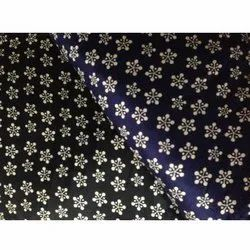Blue,Black And Golden Discharge Printed Fabric, For Garments, GSM: 100-150
