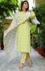 Chiffon A-Line Cotton Ladies Suits, Machine wash