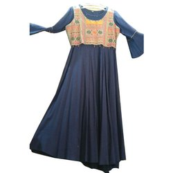 Festive Wear Ladies Rayon Floor Length Kurti