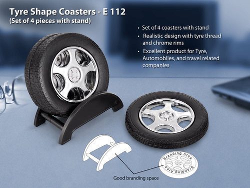 Tyre shape coaster set with stand (4 pcs)