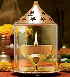 Glass Craftfry Akhand Diya Decorative Showpiece