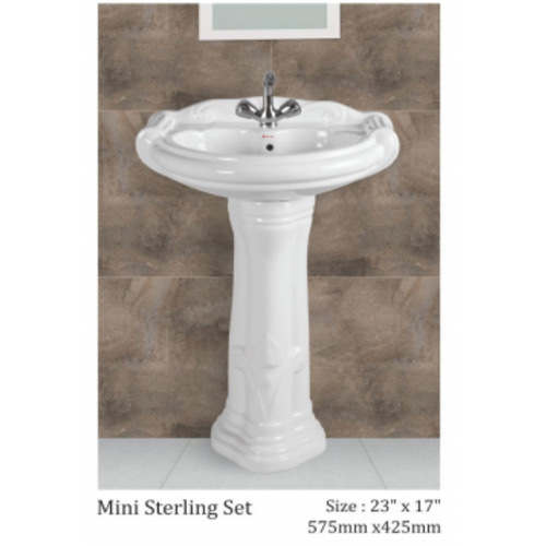 Ceramic Plain Mini Sterling Set Pedestal Wash Basin