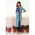 Blue Side Cut Cotton Kurti