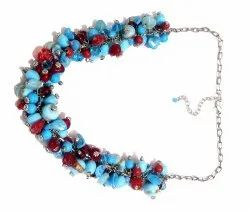 Ladies Fashion Turquoise beaded short Necklace