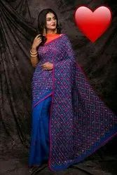 Noil Embroidery Work Sarees