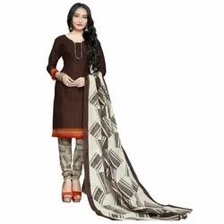 Rajnandini Brown Cotton Printed Unstitched Dress Material