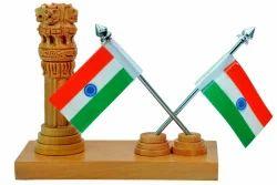 Corporate Gift Wooden Ashoka Stambh With Flag