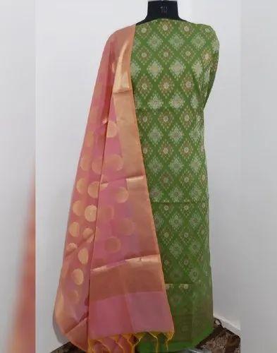 Green Chanderi 3Piece Cotton Silk Jacquard Suit