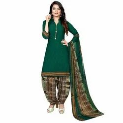 Rajnandini Green Crepe Printed Unstitched Dress Material