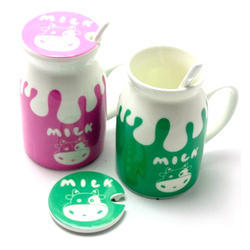 Morning Ceramic Milk Coffee Mug Funny Cup with Lid and Spoon