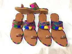 Multicoloured Ethnic Kolapuri Chappals