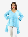 Blue High Low Ruffled Front Open Top