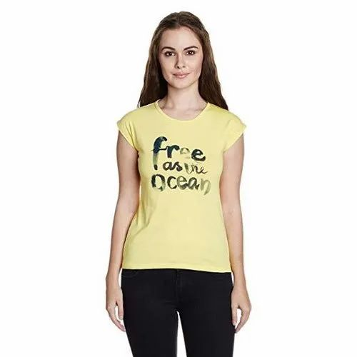 Half Sleeve Round Ladies Casual Wear T Shirt