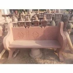 Red Sandstone Outdoor Bench