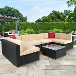 Cream U Shaped Outdoor Sofa Set