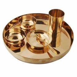 K&T Golden Pure brass Thali Set