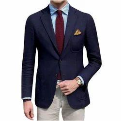 Blue Cotton Mens Plain Blazer