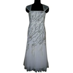 Female Ladies White Sequin Work Party Wear Dress