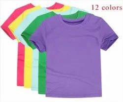 Casual Wear Round Plain Kids Tshirts, Size: 2-14 Years