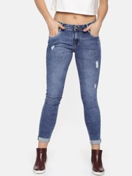 Stretchable Ultra Low Rise Women Kraus Skinny Distressed Jeans