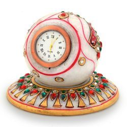 Handmade Round Marble Table Clock 177