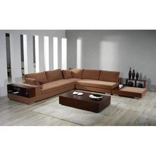 Chocolate Brown L Shape Sofa Set
