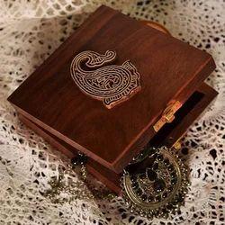 Sheesham Square Brown Wooden Jewellery Box