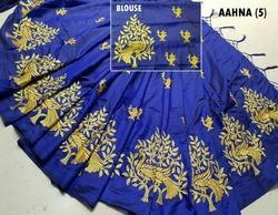 Pramukh Cotton Heavy Embroidery Georgette Pallu Saree, 5.5 m (separate blouse piece), Packaging Type: Plastic Bag
