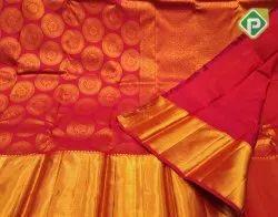 Handloom Red Color Pure Kanchipuram Saree